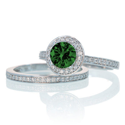 2 Carat Unique Classic Halo Round Emerald and Moissanite Diamond Bridal Ring Set on 10k White Gold