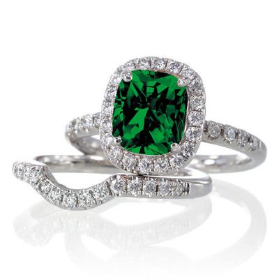 2 Carat Unique Emerald and Moissanite Diamond Bridal Ring Set on 10k White Gold