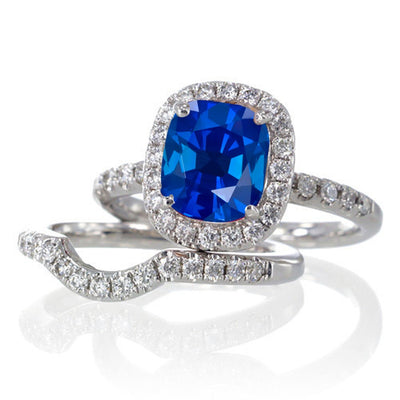 2 Carat Unique Sapphire and Moissanite Diamond Bridal Ring Set on 10k White Gold
