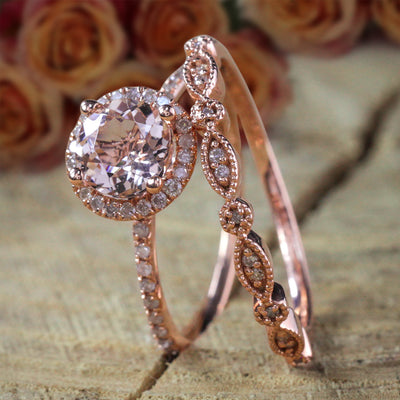 Antique Vintage Design 2 carat Round Morganite Diamond Halo Bridal Wedding Ring Set in 10k Rose Gold