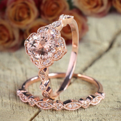 1.50 carat Round Cut Real Natural Morganite and Diamond Halo Bridal Wedding Ring Set in Rose Gold