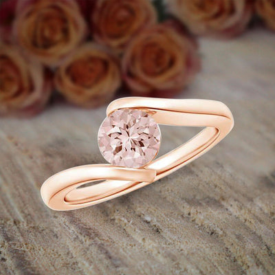 Morganite Engagement Ring 1.00 Carat Morganite Solitaire Engagement Ring