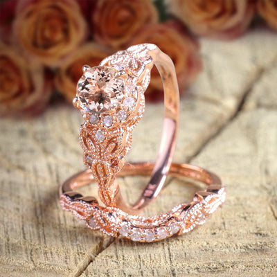 Art Deco Morganite Bridal Set 1.50 carat Morganite Diamond Halo Wedding Ring Set in 10k Rose Gold