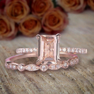 1.50 carat emerald Cut Morganite and Diamond Bridal Set Engagement Ring on Sale