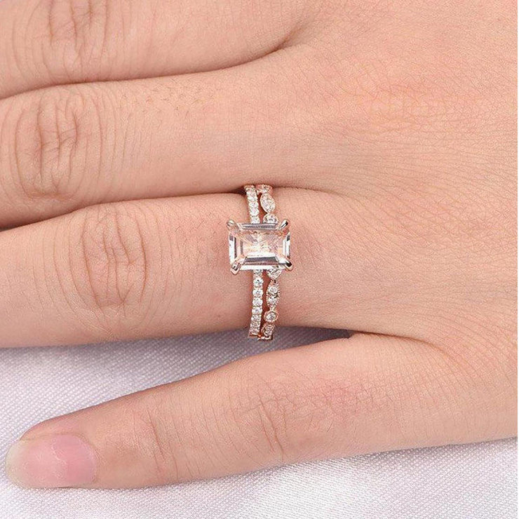 1.50 carat emerald Cut Morganite and Diamond Bridal Set Engagement Ring 10k Rose Gold on Sale