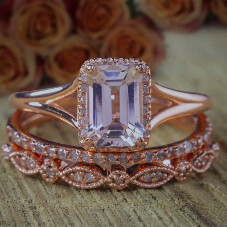 2 carat Emerald cut Morganite Diamond Trio Ring Set 10k Rose Gold, 1 Engagement Ring 2 Wedding Bands