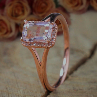Sale: 1.25 Carat Peach Pink Morganite and Diamond Split Shank Halo Engagement Ring