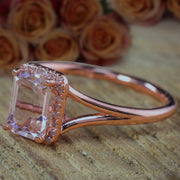 Sale: 1.25 Carat Peach Pink Morganite and Diamond Split Shank Halo Engagement Ring in 10k Rose Gold