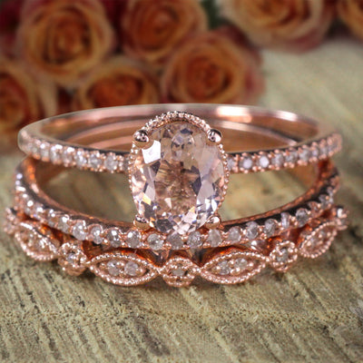 Sale 2 carat Antique Design Oval Shape Morganite & Diamond Trio Ring Set in 10k Rose Gold