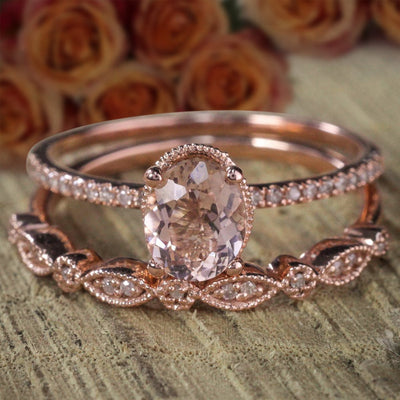 Art Deco 1.50 carat Oval cut Solitaire Morganite Bridal Wedding ring Set with in Sterling Silver 18k Rose Gold Plating