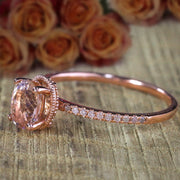 1.25 Carat Oval Cut Morganite Solitaire Engagement Ring with Diamonds Cheap Sale