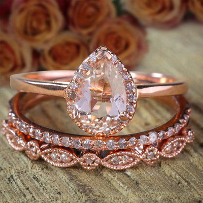 Sale 2.25 carat Pear shape Morganite and Diamond Halo Trio Bridal Wedding Ring Set  on 10k Rose Gold