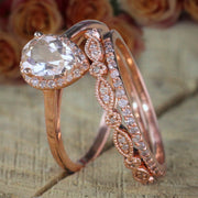 Sale 2.25 carat Pear shape Morganite and Diamond Halo Trio Bridal Wedding Ring Set