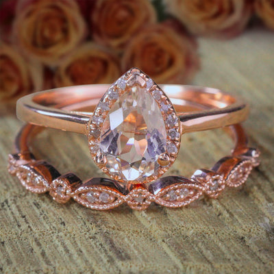 2 carat Pear shape Morganite and Diamond Halo Bridal Wedding Ring Set Antique Design 10k Rose Gold