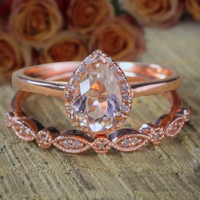 2 carat Pear shape Morganite and Diamond Halo Bridal Wedding Ring Set Antique Design