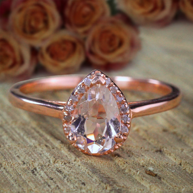 1.25 Carat Pear cut Solitaire Morganite and Diamond Halo Engagement Ring 10k Rose Gold on Sale