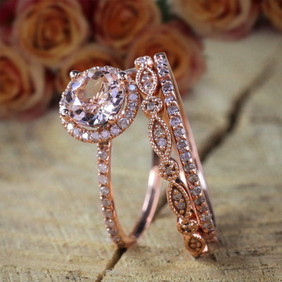 2 carat Morganite Diamond Trio Ring Set , 1 Halo Engagement Ring and 2 Wedding Bands