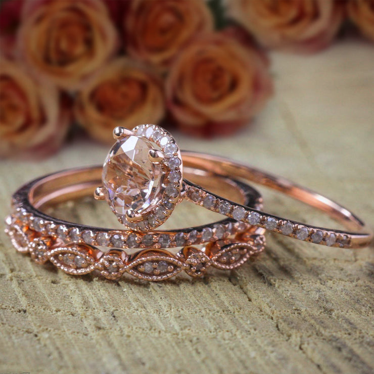 2 carat Morganite Diamond Trio Ring Set 10k Rose Gold, 1 Halo Engagement Ring and 2 Wedding Bands