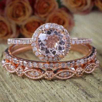 2 carat Round Morganite and Diamond Trio Ring Set Engagement Ring 2 Wedding Bands