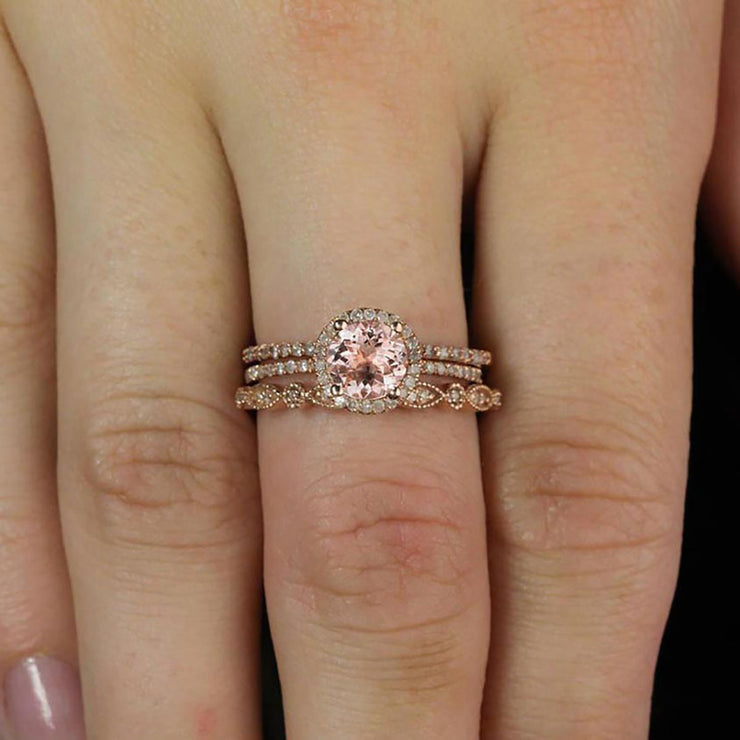 2 carat Round Morganite and Diamond Trio Ring Set in 10k Rose Gold Engagement Ring 2 Wedding Bands