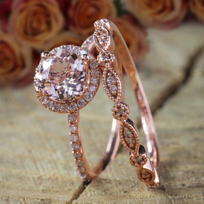 Sale Antique Vintage Design 2 carat Round Morganite Diamond Halo Bridal Wedding Ring Set