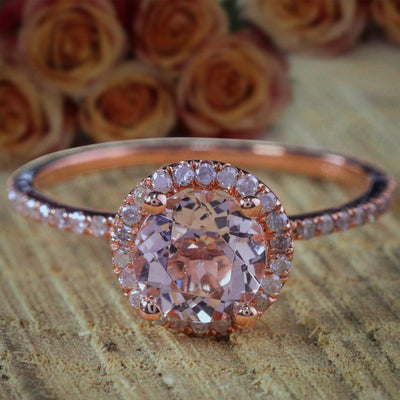 Huge Sale 1.50 Carat Morganite (Round cut Morganite) Diamond Halo Engagement Ring