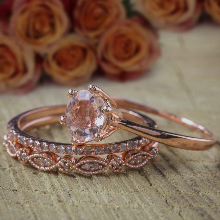 Bestseller 2 carat Morganite and Diamond Trio Ring Set in 10k Rose Gold