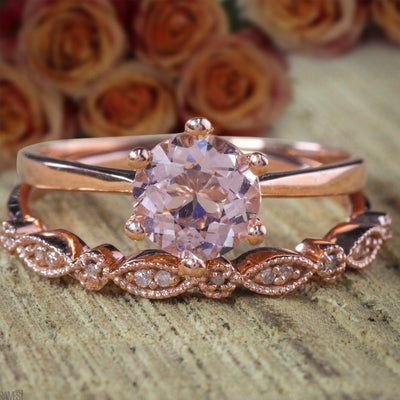 Sale Antique 1.25 carat Round Cut Morganite and Diamond Bridal Wedding Ring Set