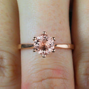 Beautiful Morganite Diamond Ring Sale 1.50 Carat Morganite Solitaire Engagement Ring
