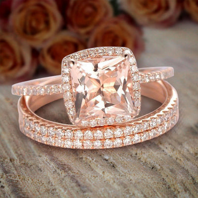 2 Carat Morganite and Diamond Trio Set, Engagement Ring and 2 Matching Wedding bands, 10k Rose Gold