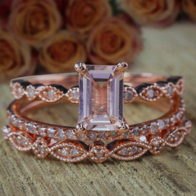 2 carat Morganite and Diamond Trio Ring Set in 10k Rose Gold Engagement Ring with two matching bands