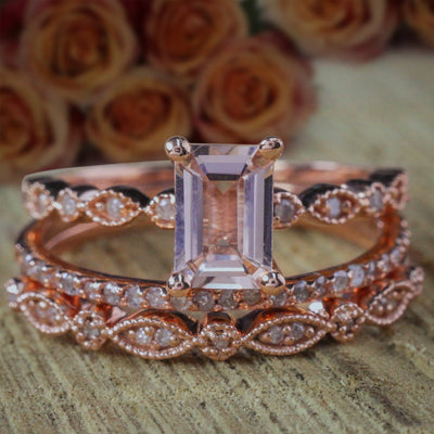 2 carat Morganite and Diamond Trio Ring Set Engagement Ring with two matching bands