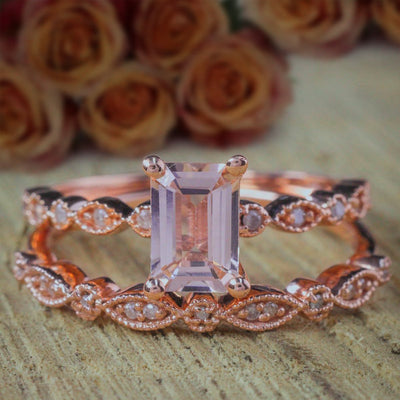 1.50 carat Emerald Cut Morganite and Diamond Bridal Ring Set Engagement ring set