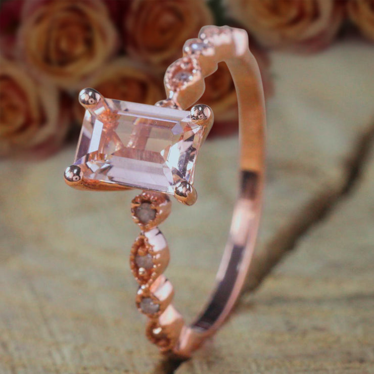 Limited Time Sale 1.25 Carat Real and Natural Morganite and Diamond Engagement Ring in 10k Rose Gold