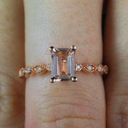 Limited Time Sale 1.25 Carat Real and Natural Morganite and Diamond Engagement Ring
