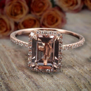 Limited Time Sale 1.50 Carat Emerald Cut Morganite and Diamond Halo Engagement Ring in 10k Rose Gold