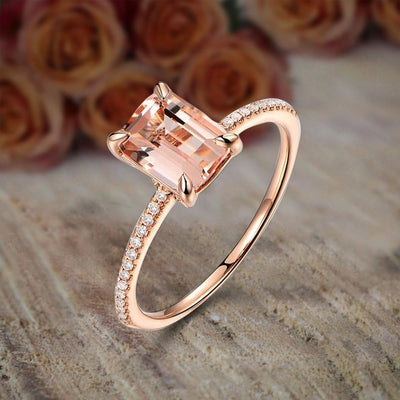 Sale: 1.25 Carat Morganite (emerald cut Morganite) and Diamond Engagement Ring