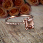 Sale: 1.25 Carat Morganite (emerald cut Morganite) and Diamond Engagement Ring in 10k Rose Gold