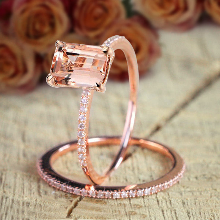 Huge Sale 1.50 carat Emerald Cut Morganite Diamond Bridal Wedding Ring Set in 10k Rose Gold