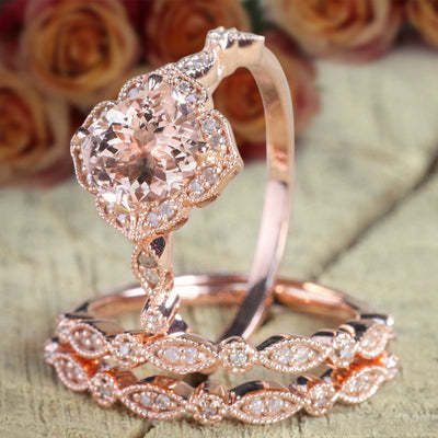 2.25 carat Morganite Diamond Trio Bridal Ring Set 10k Rose Gold, 1 Engagement Ring 2 Wedding Bands