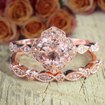 Limited Time Sale 2 carat Round Cut Morganite and Diamond Halo Bridal Wedding Ring Set