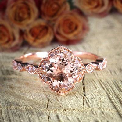 Antique Design 1.25 Carat Peach Pink Morganite and Diamond Engagement Ring Jewelry