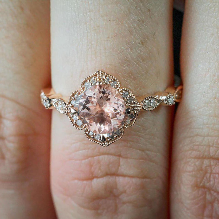 Antique Design 1.25 Carat Peach Pink Morganite and Diamond Engagement Ring in 10k Rose Gold Jewelry