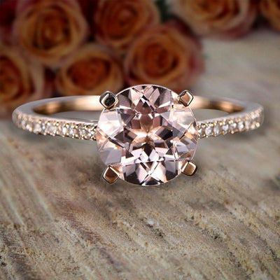 1.25 Carat Round Cut Morganite and Diamond Engagement Ring in 10k Rose Gold Women Engagement Ring