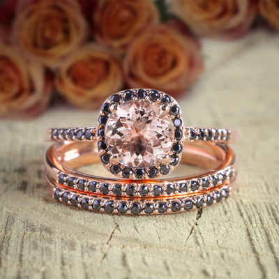 2 carat Round Cut Morganite and Black Diamond Trio Wedding Set Bridal Ring Set in 10k Rose Gold