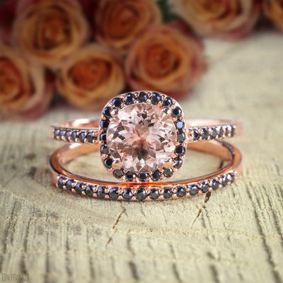 1.50 Carat Peach Pink Morganite and Black Diamond Engagement Bridal Wedding Ring Set