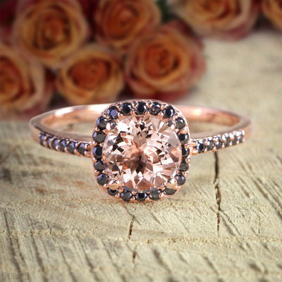 Limited Time Sale: 1.25 Carat Round Cut Morganite and Black Diamond Engagement Ring