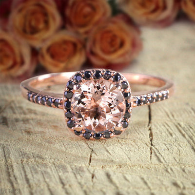Limited Time Sale: 1.25 Carat Round Cut Morganite and Black Diamond Engagement Ring in 10k Rose Gold