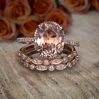 2 carat Morganite Diamond Trio Ring Set in 10k Rose Gold with 1 Engagement Ring and 2 Wedding Bands
