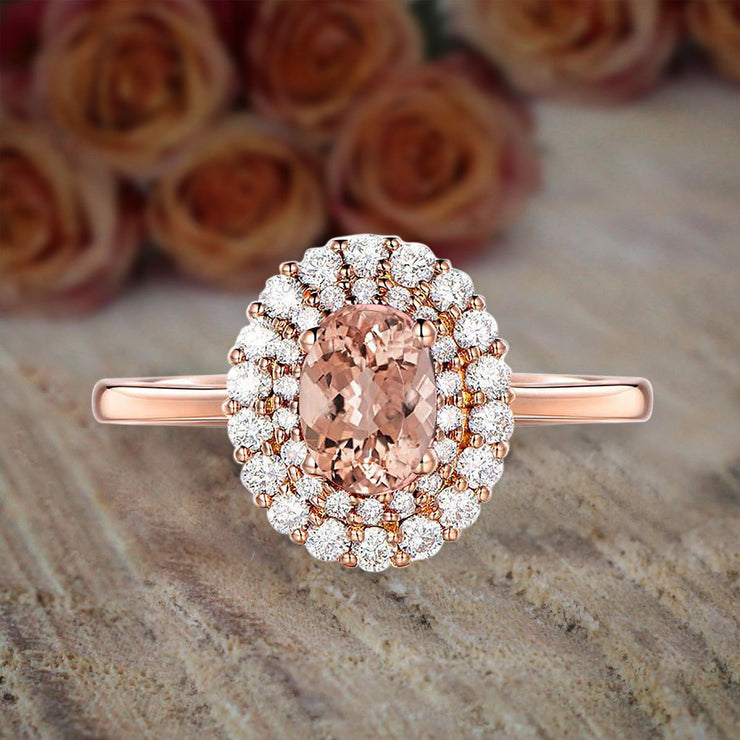 Limited Time Sale Double Halo 1.50 carat Morganite and Diamond Engagement Ring